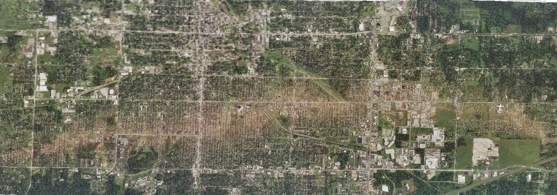 Aerial image of path of Joplin tornado