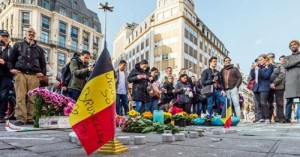 Memorial in Brussels in the wake of Islamic State attacks in March of 2016