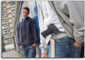 Depiction of a student bringing a gun to school.