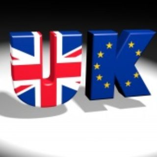 UK and EU Flags transposed over the letters 'UK'.