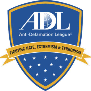 "The logo for the Anti-Defamation League (ADL) that features their name and a banner that reads ""Fighting Hate, Extremism & Terrorism"" with stars below."