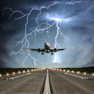 Airplane in lightning storm