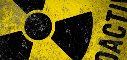 Picture of the radioactive symbol in black with a yellow background