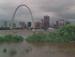 On August 1st, 2013, the Mississippi River at St. Louis crested at 49.58 feet, the highest stage over recorded.