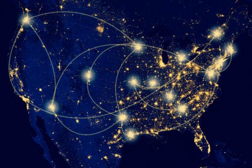 Image of the U.S. at night; taken by NASA
