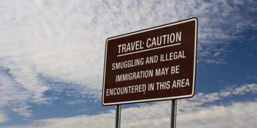 sign at illegal border crossing