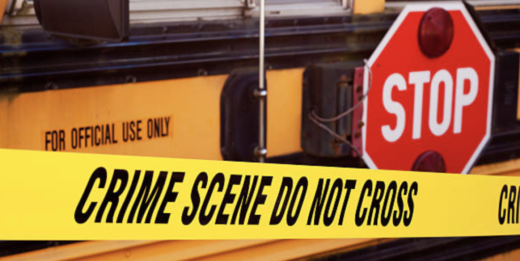 crime scene with school bus