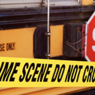 crime scene with school bus