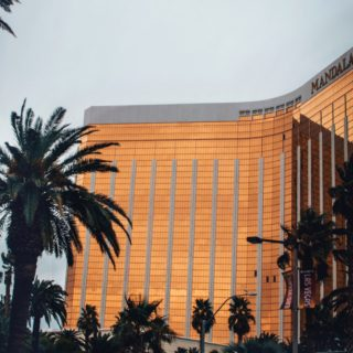 mandalay bay resort in Las Vegas in the evening