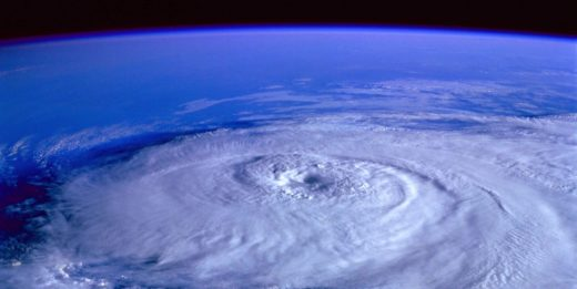 view of hurricane from satellite