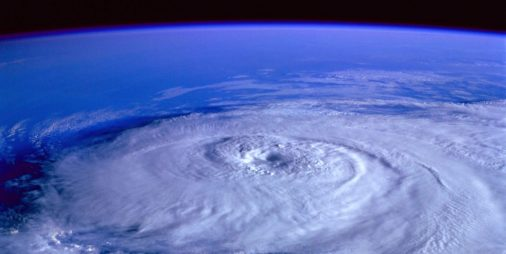 view of hurricane from satellite