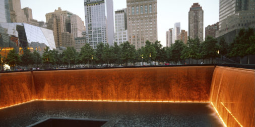 9/11 ground zero with building in the background