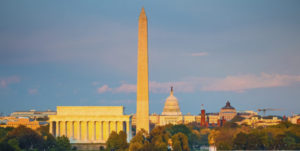 Lincoln memorial, Washington monument and Capitol, Washington DC