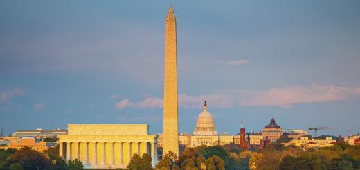 Lincoln memorial, Washington monument and Capitol, Washington DC