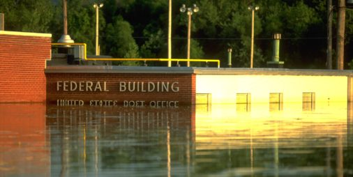 post office building under water after midwest floods of 1993