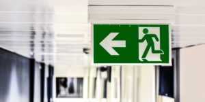 hospital green exit sign