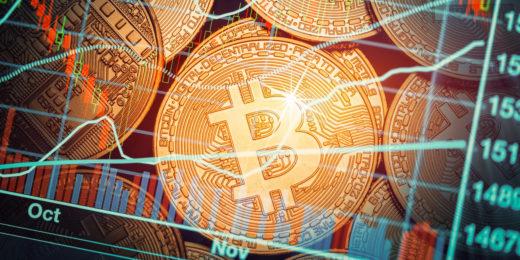 shiny coins with bitcoin logo