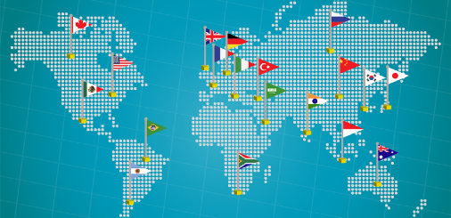 Blue map of the world with flags representing the members of the Group of 20