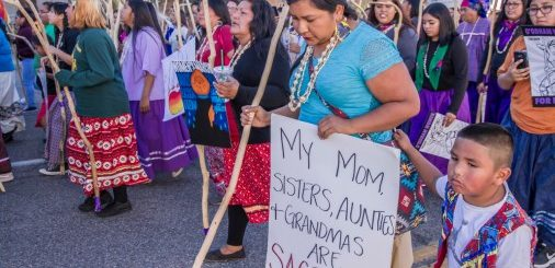Native American women at Women's Day March