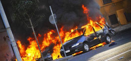 explosive burning cars