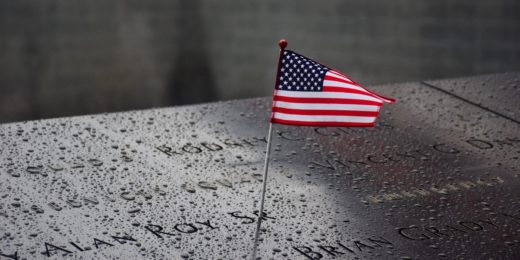 Flag memorial at Ground Zero