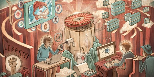 Drawing of young man in a teal hoodie at a desk spray painting a surveillance camera as he works on his laptop while another man at a desk sweats as he looks at an eye on the computer screen with a man behind him starting over a wall at his screen