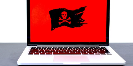 computer with pirate flag on screen
