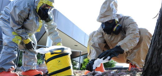 U.S. Army Staff Sgt. Steve Russ and Sgt. Robert Chavez, both Colorado Army National Guardsmen with the 8th Civil Support Team, dispose of simulated hazardous material during a tornado scenario July 23, 2013, in Colorado Springs, Colo., as part of exercise Vigilant Guard Colorado. Vigilant Guard is a series of federally funded disaster-response drills conducted by National Guard units working with federal, state and local emergency management agencies and first responders. (DoD photo by Staff Sgt. Nicole Manzanares, U.S. Air National Guard/Released)