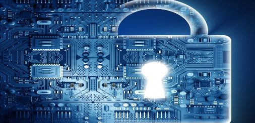 Digital depiction of a lock with semiconductor background