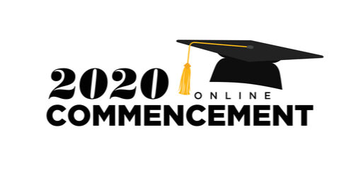 """A drawn graduation cap sits on top of the words """"2020 online commencement."""""""