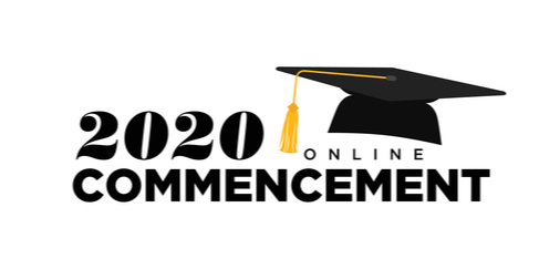 "A drawn graduation cap sits on top of the words ""2020 online commencement."""