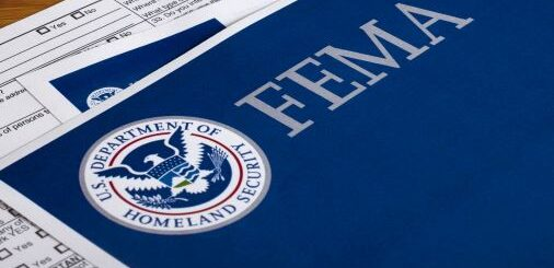 An image of paperwork with the logos for the United States Department of Homeland Security and FEMA, the Federal Emergency Preparedness Agency