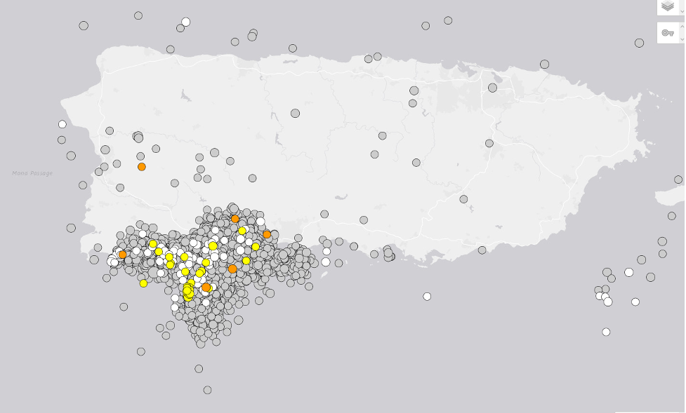 Earthquake locations in Puerto Rico