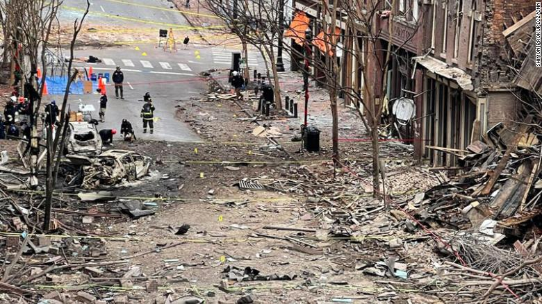 Aftermath of bomb in Nashville TN