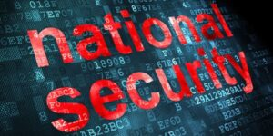 The words national security over encrypted code. cyber