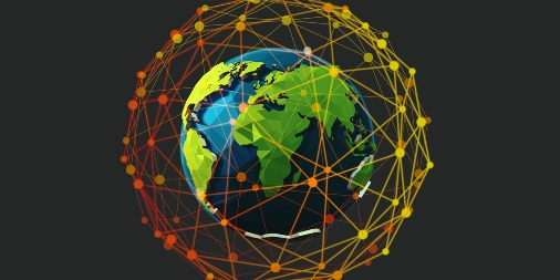 Globe with worldwide cyber threats