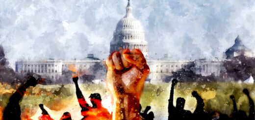 Watercolor image of a raised fist and silhouettes of protestors in front of the U.S. Capitol building, signifying conflict with the government, and riots in the streets.