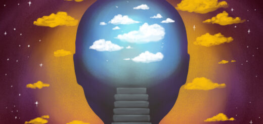 An illustration of stairs along the back of a person's neck leading to their brain, full of clouds, illustrating neuroscience and enlightenment