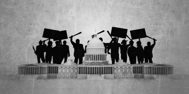 Capitol building under riots by violent extremists