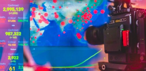 Video camera operator working broadcasting television news pandemic virus situation