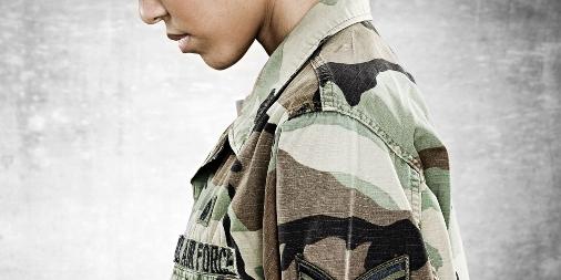 Female service member under stress / fatigue