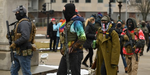 A group of armed Boogaloo members at a protest